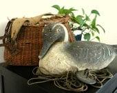 Reserve Listing - Vintage Duck Decoy,  Antique Victor Veri-Lite Papier Mache Decoy  with Attached Weight, 1946,  3 TREASURIES