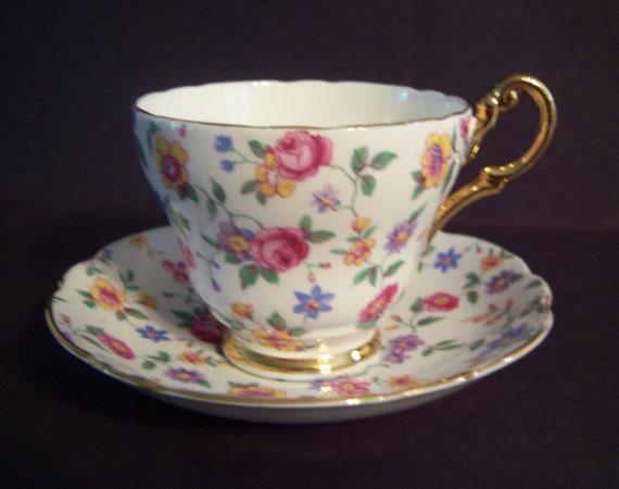Romantic English Bone China Chintz Teacup and Saucer/2 TREASURY LISTS