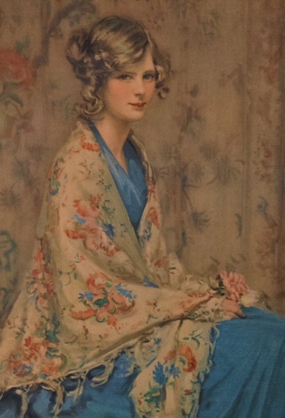 Reserved For Tor Alice Blue Gown Vintage Print In Frame 1920s