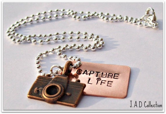 Personalized Capture Life camera necklace- Hand Stamped Copper camera Necklace, photography jewelry