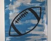 Football Painting - black football on blue, gray, canvas art for nursery, kids room or game room