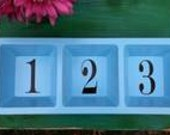 Turquoise Tray Sorter, Home Decor, Numbered, Cottage, Farmhouse, Shabby