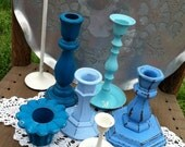 Blue Candlestick Instant Collection,  Candle Holder Grouping, Shabby Chic Decor