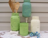Green Painted Mason Jar Collection, Cottage Kitchen