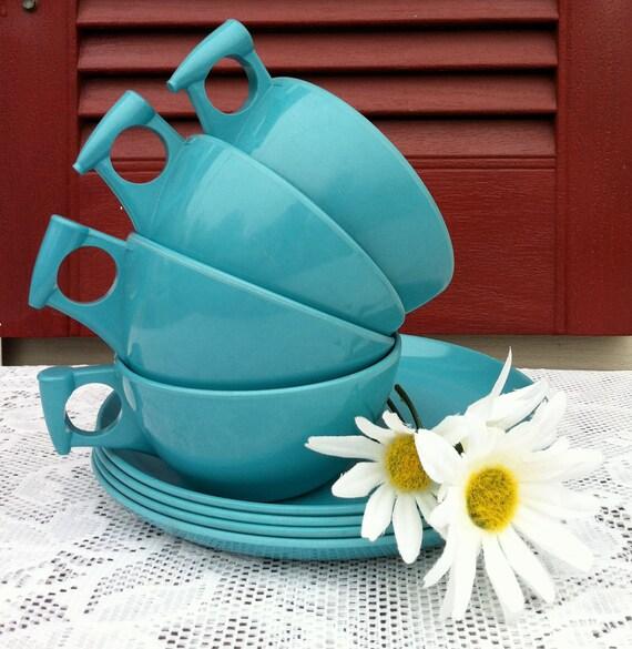 Turquoise Vintage Melamine Cups & Saucers/ Beach, Cottage, Shabby Decor/Vintage Dishes