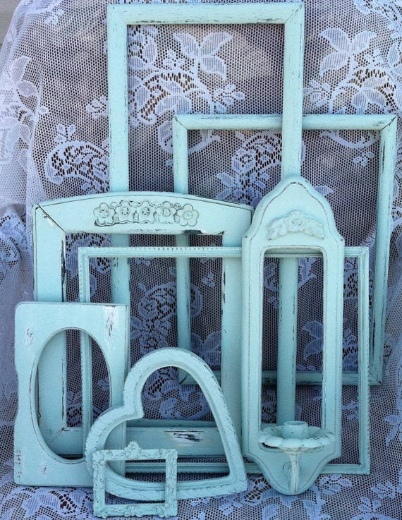 Mint Country French Frame Collection & Sconce, Mint Green Vintage Empty Frames, Shabby Chic Green Frames, Open Frames, Instant Collection