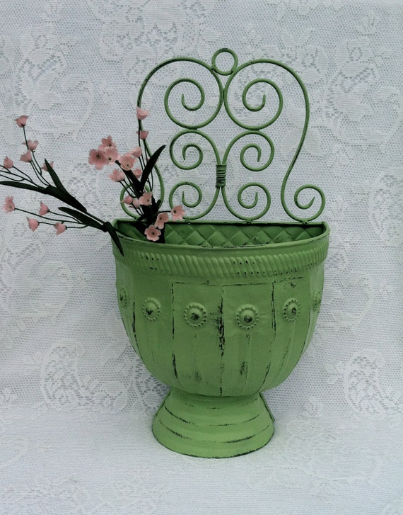 Country French Green Wall Pocket, Cottage Decor