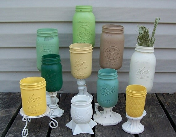 Painted Mason Jar Mixed Color Collection, Instant Collection,  Cottage Kitchen