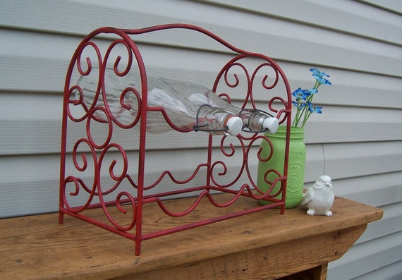 Upcycled Red Iron Wine Rack / Vintage Kitchen