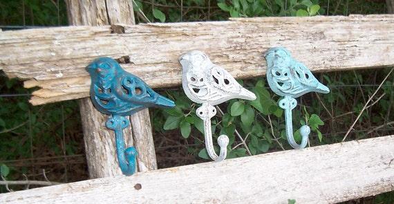 3 Cast Iron Bird Wall Hooks / Blue & White  / Country French Decor / Garden Decor / Wall Decor