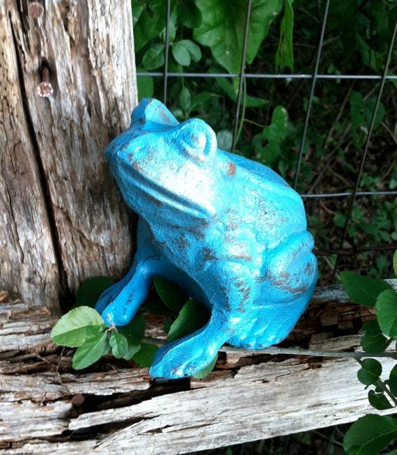 Cute Little Blue Frog / Cast Iron Beach Decor / Whimsical