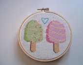 Pink and Green Ice Cream Popsicle Cross Stitch Art