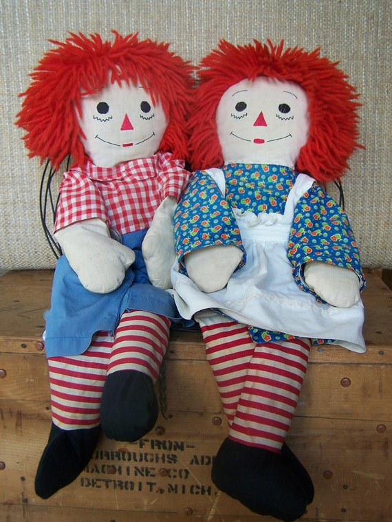 Vintage Raggedy Ann And Andy Dolls 121