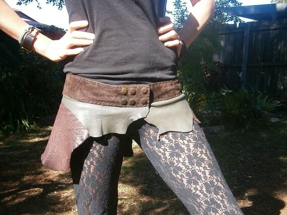 Cheeky Leather Bush Faery Skirt, Doof, Burning Man, Psytrance