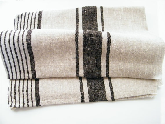 For Clare - a Set of 4 Natural Linen Bath Sauna Towels - Large Bath Sheets  and 4 Hand/ Face Towels - Black Stripes - Pure Flax