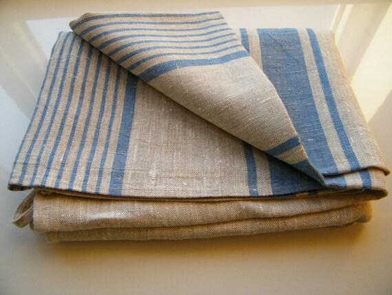 Bath Set: 4 Natural Linen Bath Sauna Towels - Huckaback - Large Bath Sheets-  2 small Hand -Face towels +2 washcloths   +2 BATHMATS