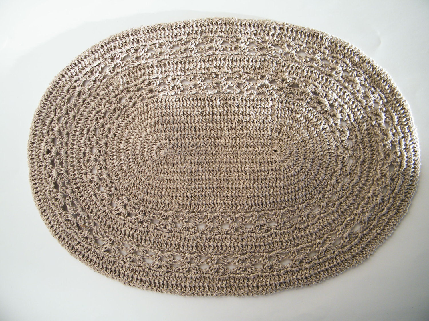 4 natural linen crochet oval placemats table linen kitchen for Table placemats