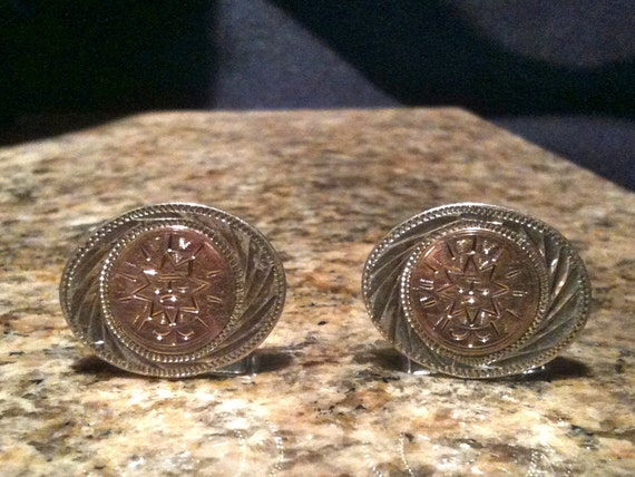 10K Yellow Gold Sterling Silver Cufflinks