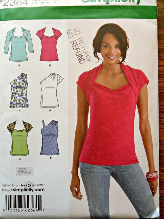 Misses Knit One Shoulder, Shrug Shoulder, Flutter Sleeve Tops Sewing Pattern Simplicity 2364 Size 14 16 18 20 22 Plus Size