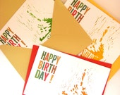Birthday Card - Set of 3 - Hand Stamped Cupcake Birthday cards - yellow orange & green - envelopes with cupcake sticker included - linocut