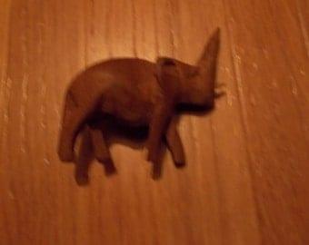 Wood Elephant Brooch