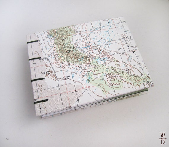 SALE Utah Map Blank Journal - Coptic Stitched - Open Spine with Green Paper