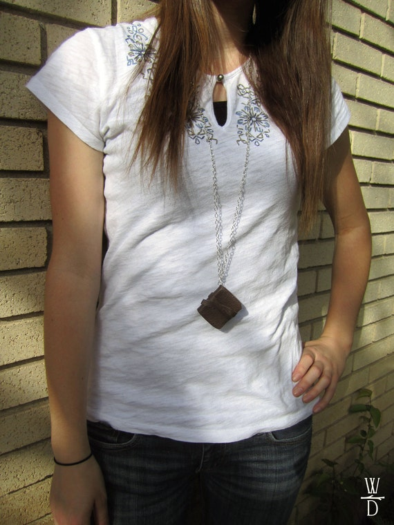 Mini Leather Book Necklace - Book Pendant with Real Brown Leather on Silver Chain