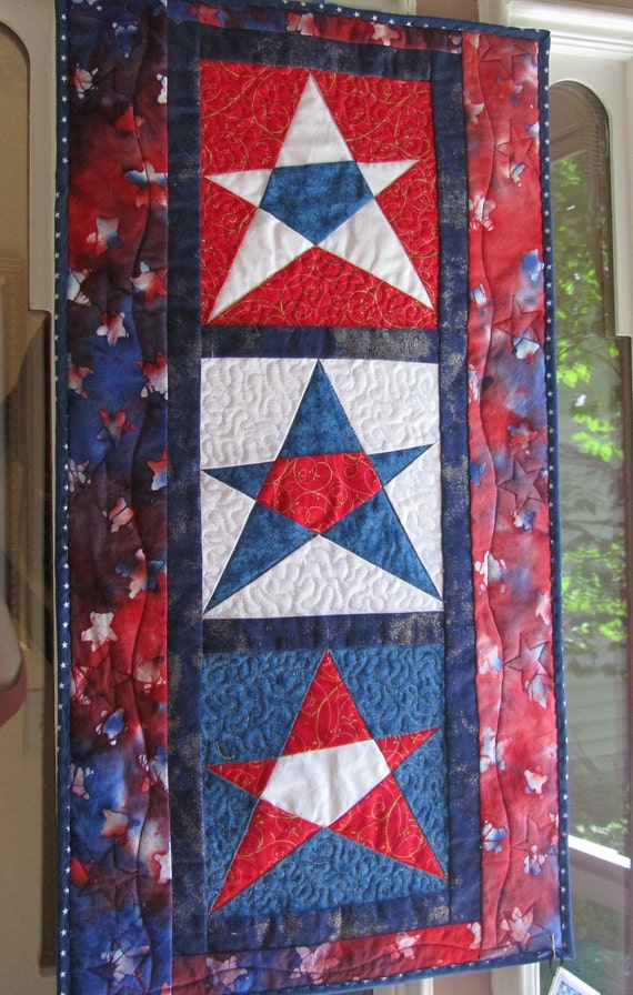 Patriotic Red, White, and Blue American Stars Wall Hanging