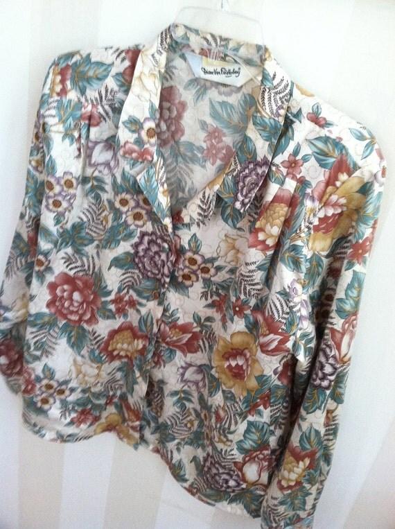 Diane Von Furstenberg Shirt 1980s Vintage Womens Top