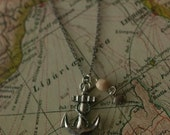 Silver Nautical Anchor and Shell necklace