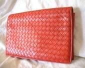 Bottega Veneta vintage red leather clutch
