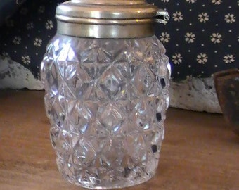 Vintage Mustard Jar, Cut Glass with hinged silverplated lid