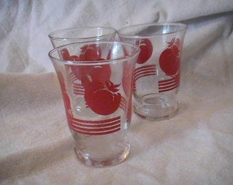 Three Vintage Juice Glasses with Tomatoes