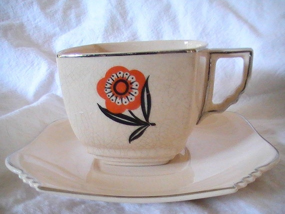 Leigh Potters/Leigh Ware cup and saucer 1920's