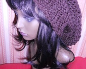 Huge brown slouchy hand knitted hat