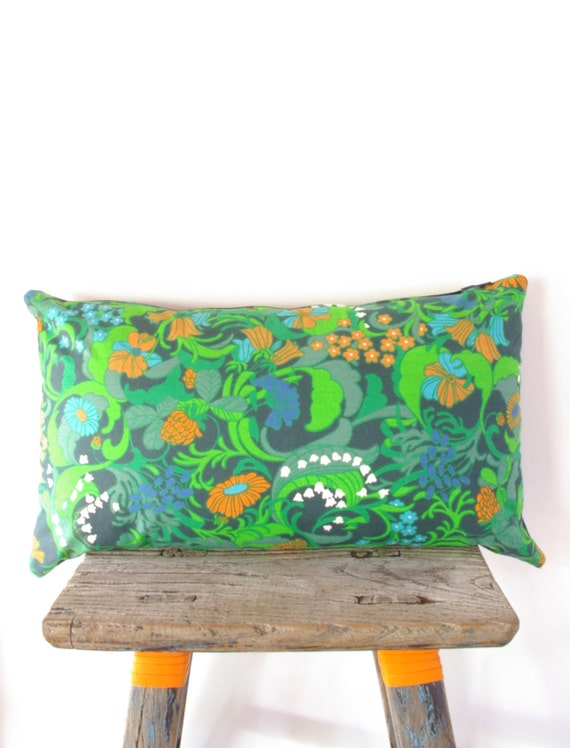 Upcycled Vintage Cushion Limited Edition Bright Cushion Pillow Vintage Swedish Fabric