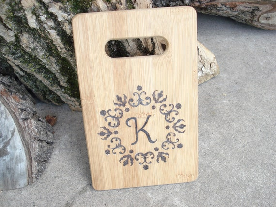 Small personalized bamboo cutting board, Go Green