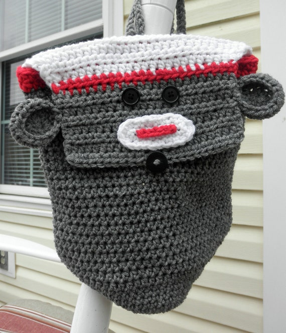 PDF Crochet Pattern Child's Sock Monkey Backpack