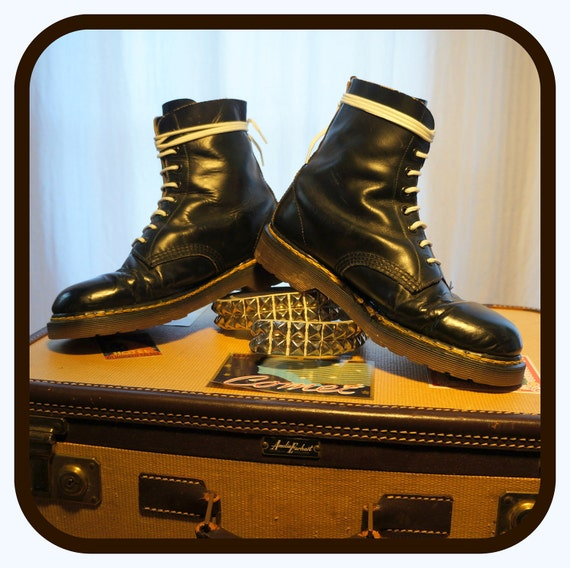 80s Dr Martens Shellys of London Old School Docs Army / Combat Black Boots Skinhead Oi 8 Eye Leather- Made in England