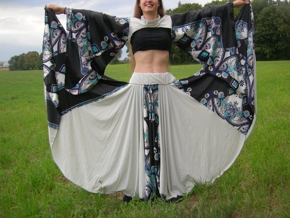 Elegant Belly Dancing Skirt and Slip-Top, With Black Shaw, Full Outfit
