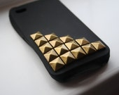 Black lower studded Iphone 4 cell phone case