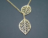 Gold Leaf Necklace, Leaf Lariat by SweetBluebirdJewelry
