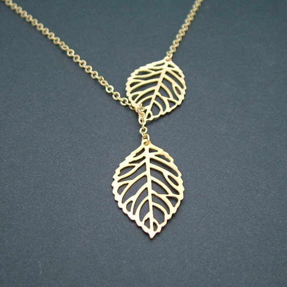 Gold Leaf Necklace, Leaf Lariat by SweetBluebirdJewelry