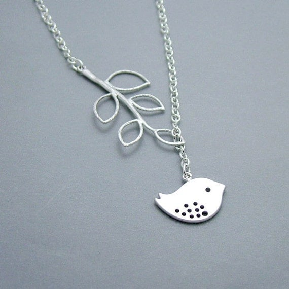 Silver Bird Necklace -  Branch, Bird Lariat,  Sparrow Necklace