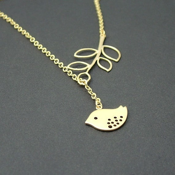 Gold Branch and Bird Necklace, Gold Bird Lariat Necklace