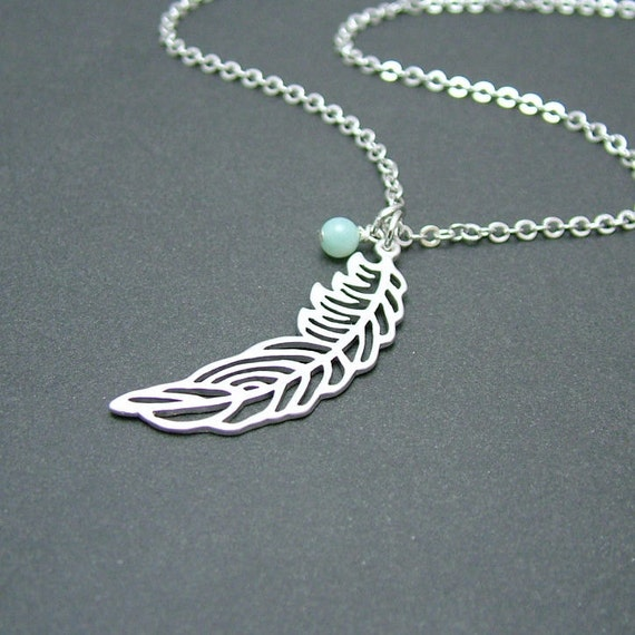 Silver Feather Necklace with Amazonite, Feather Jewelry