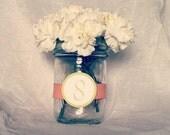 10 Mason Jar Table Number Ribbon Wraps by White Chapel Designs