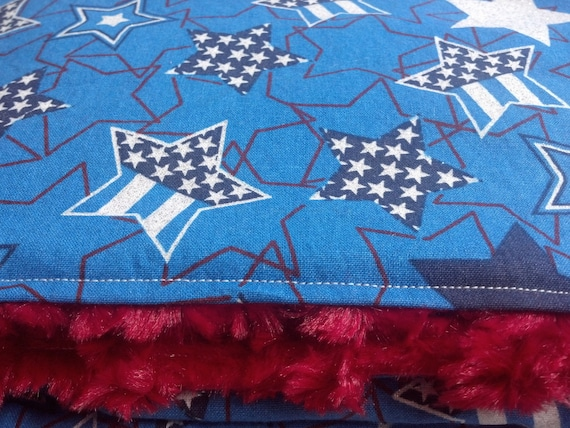 Ready To Ship - Patriotic Stars Red White and Blue Baby Blanket with Red Swirl Minky