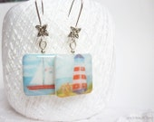 Sea Earrings - Boat and Lighthouse Earrings - Blue Red and White Earrings - Summer Gift Under 15