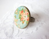 Vintage Ring - Vintage Flowers - Vintage Flower Ring - Adjustable Ring